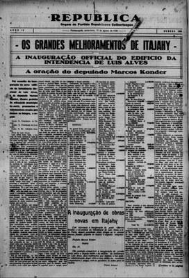 Discurso de Inauguração da Intendência em 1930