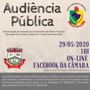 Câmara realizará Audiência Pública On - Line